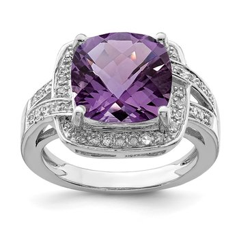 Sterling Silver Rhodium-plated Checker-Cut Amethyst & Diamond Ring