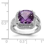 Quality Gold Sterling Silver Rhodium-plated Checker-Cut Amethyst & Diamond Ring