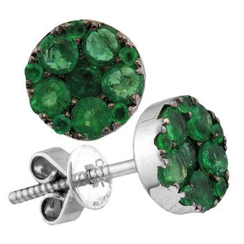 18kt White Gold Womens Round Emerald Diamond Convertible Dangle Jacket Earrings 1-7/8 Cttw