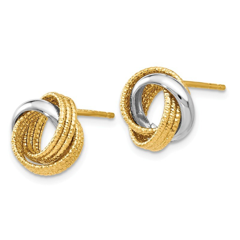 Leslie's Leslie's 14k Two-tone Polished Textured Love Knot Earrings
