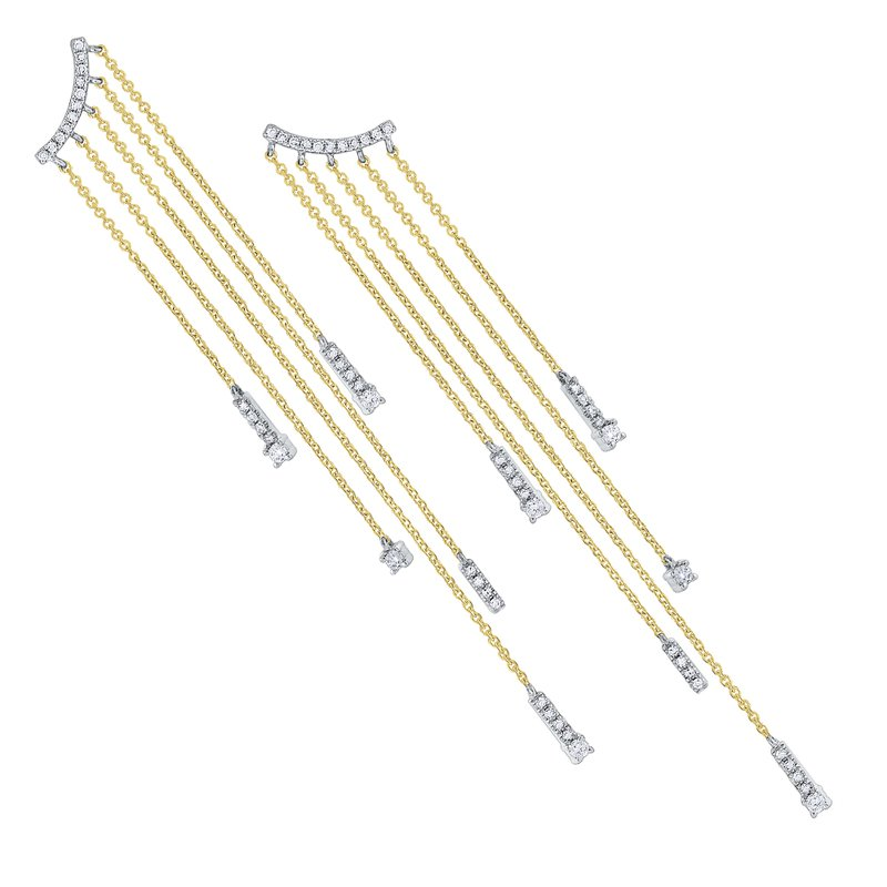MAZZARESE Fashion Diamond Hanging Chain Earrings Set in 14 Kt. Gold