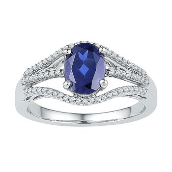 Sterling Silver Womens Oval Lab-Created Blue Sapphire Solitaire Ring 1-3/4 Cttw