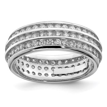 Sterling Silver Rhodium-plated 3-row Eternity Ring