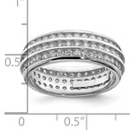 Quality Gold Sterling Silver Rhodium-plated 3-row Eternity Ring
