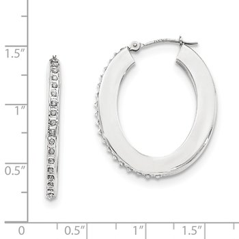14K White Gold Diamond Fascination Flat Oval Hoop Earrings