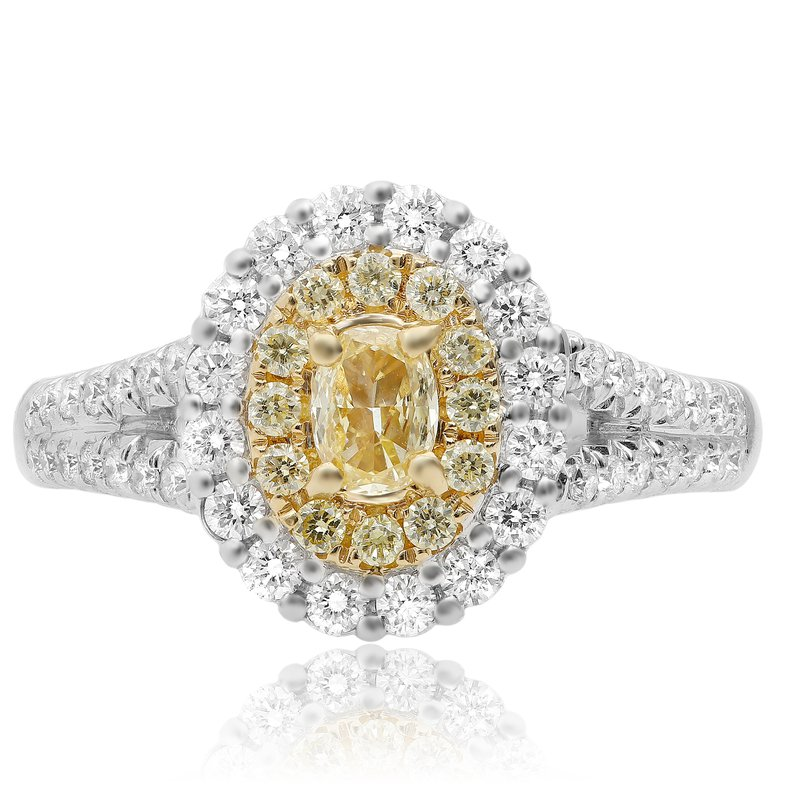 Roman & Jules Split Shank Two Tone Diamond Ring