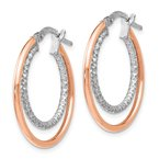 Leslie's Leslie's Sterling Silver Rose-tone D/C Hoop Earrings