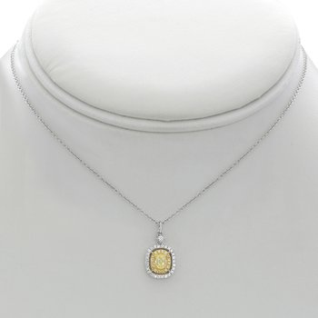 Double Halo Yellow & White Diamond Necklace
