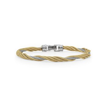 Grey & Yellow Cable Modern Twist Bracelet