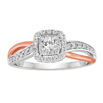 BLISS12: 14K White & Rose Gold 1/2cttw Two Tone Crossover Bridal Set