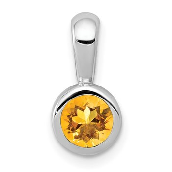 14k White Gold .40 Citrine Pendant