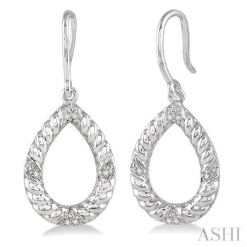 PEAR SHAPE SILVER DIAMOND EARRINGS