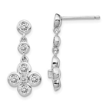 Sterling Silver Rhodium-plated Polished CZ Post Dangle Earrings