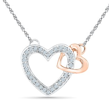 Two Heart Necklace 0.16CTTW Silver & 10KT Pink Gold with Diamond