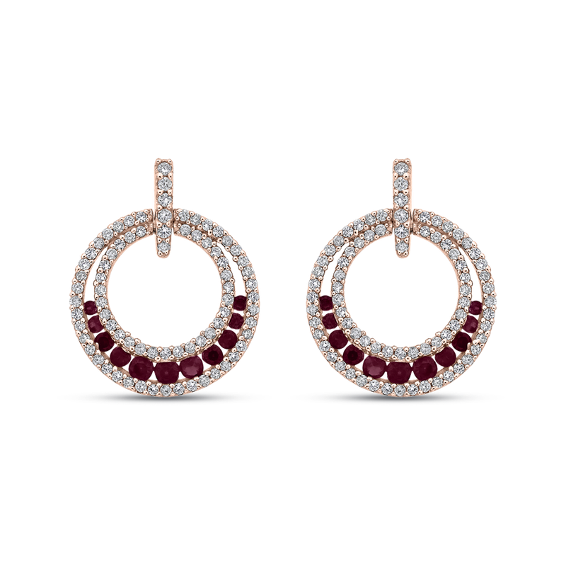 Essentials 10K Rose Gold 1/2 Ct Diamond with 5/8 Ct Ruby Fashion Earrings