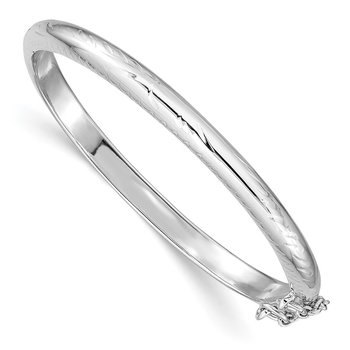 Sterling Silver Rhod. Plated Text. w/Safety Hinged Child's Bangle