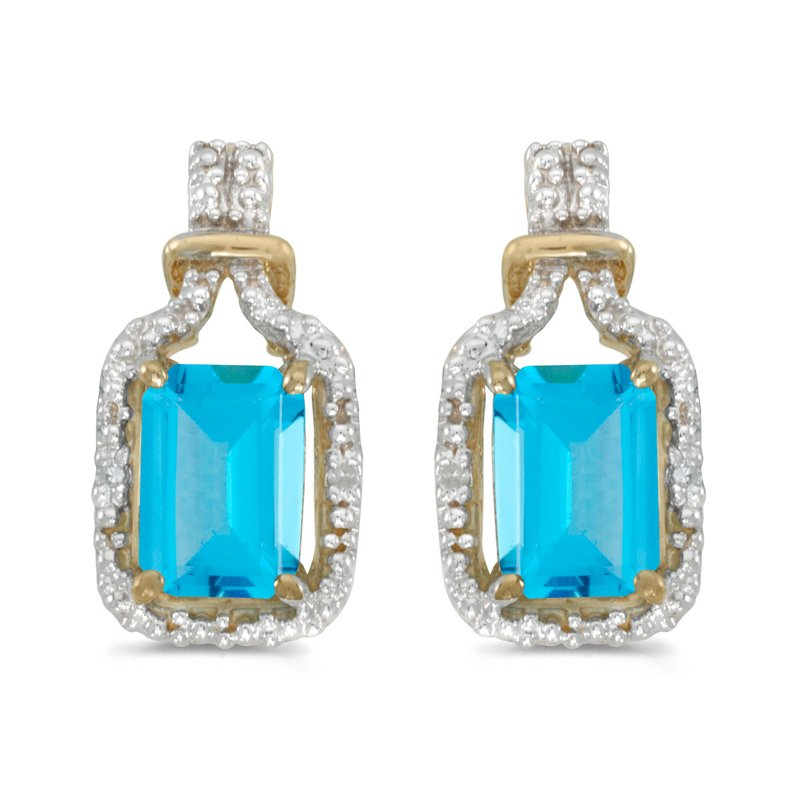 10k Yellow Gold Emerald Cut Blue Topaz And Diamond Earrings
