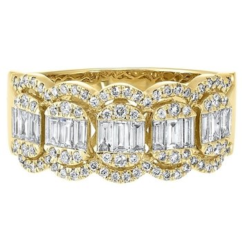 Diamond Baguette Vintage Style Band in 14k Yellow Gold (3/4ctw)