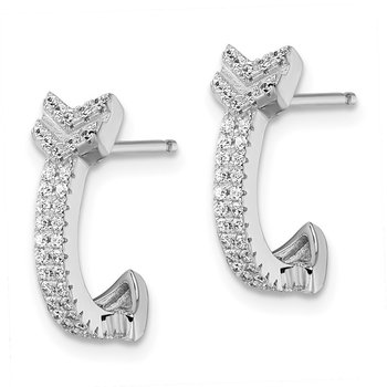Sterling Silver Brilliant Embers Rhodium-plated CZ Arrow Earrings