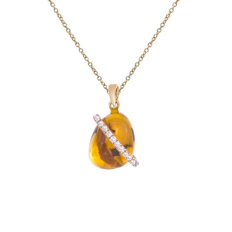 Color Merchants 14K White Gold Cabochon Citrine and Diamond Pendant
