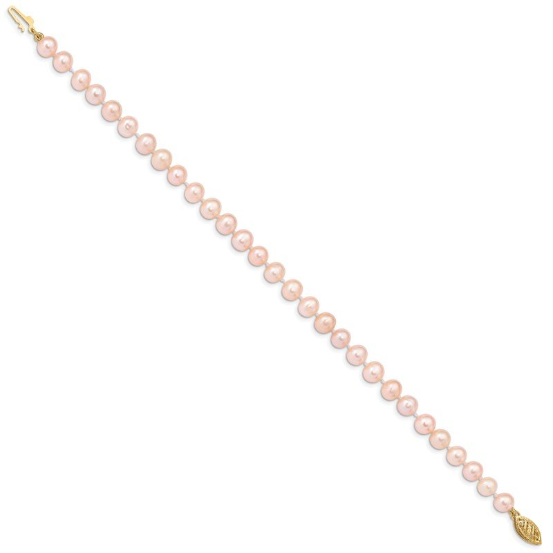 Quality Gold 14k 5-6mm Pink Near Round Freshwater Cultured Pearl Necklace