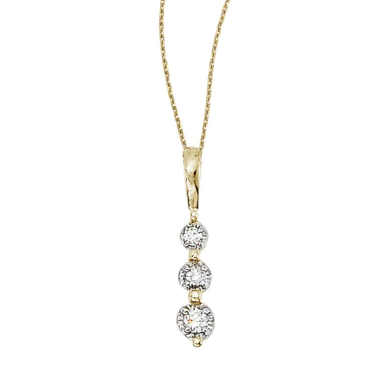 Color Merchants 14k Yellow Gold 3 Stone Diamond Drop Pendant