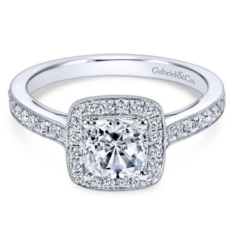 Gabriel Bridal Bestsellers Vintage 14K White Gold Cushion Halo Diamond Engagement Ring