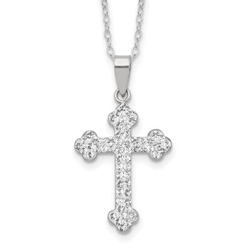 Sterling Silver Stellux Crystal Cross Necklace