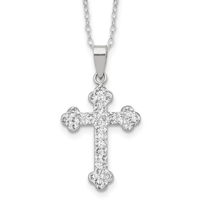Quality Gold Sterling Silver Stellux Crystal Cross Necklace