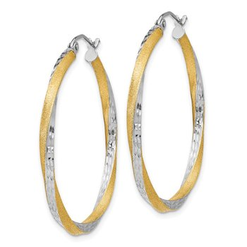14k & Rhodium Diamond-cut 2.5mm Twisted Hoop Earrings
