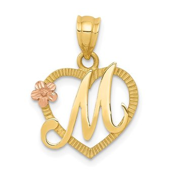 14k Two-Tone Heart Letter M Initial Pendant