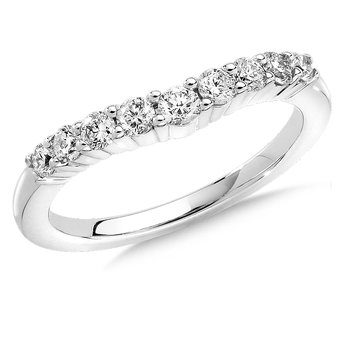 Curved Diamond Wedding Band 14k White Gold (1/3ct. tw.)