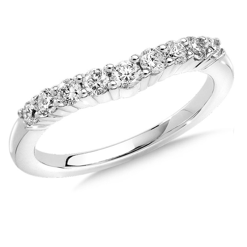 SDC Creations Curved Diamond Wedding Band 14k White Gold (1/3ct. tw.)