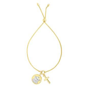 14K Gold Cross and Religious Medallion Friendship Bracelet