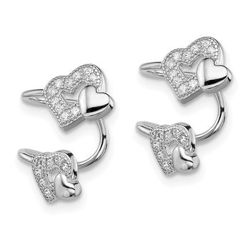 Sterling Silver Rhodium-plated CZ Double Heart Right Cuff Earring