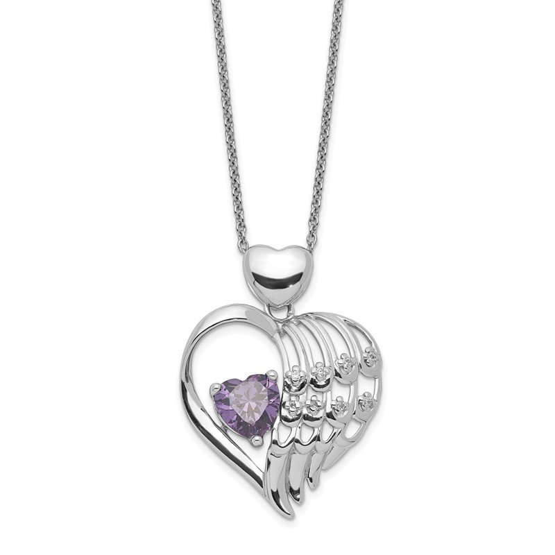 Quality Gold Sterling Silver Purple & Clear CZ Wing Heart Necklace