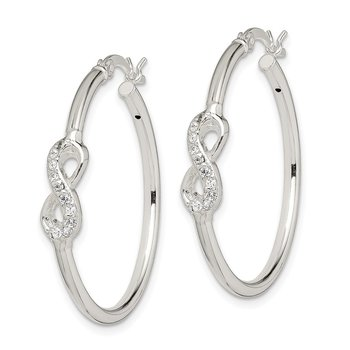 Sterling Silver Polished CZ Infinity Symbol Hoop Earrings