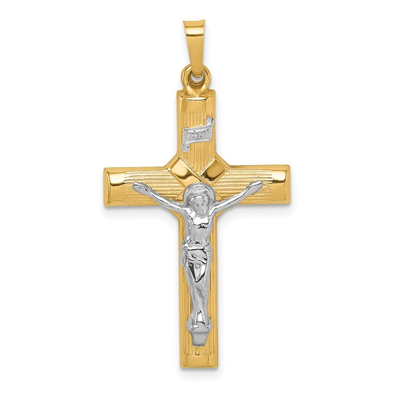 Quality Gold 14k Two-tone Hollow Polished Center X Crucifix