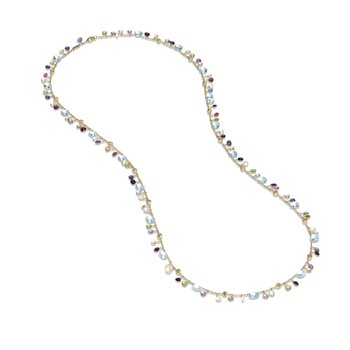 Paradise Collection 18K Yellow Gold Blue Topaz and Mixed Gemstone Long Necklace