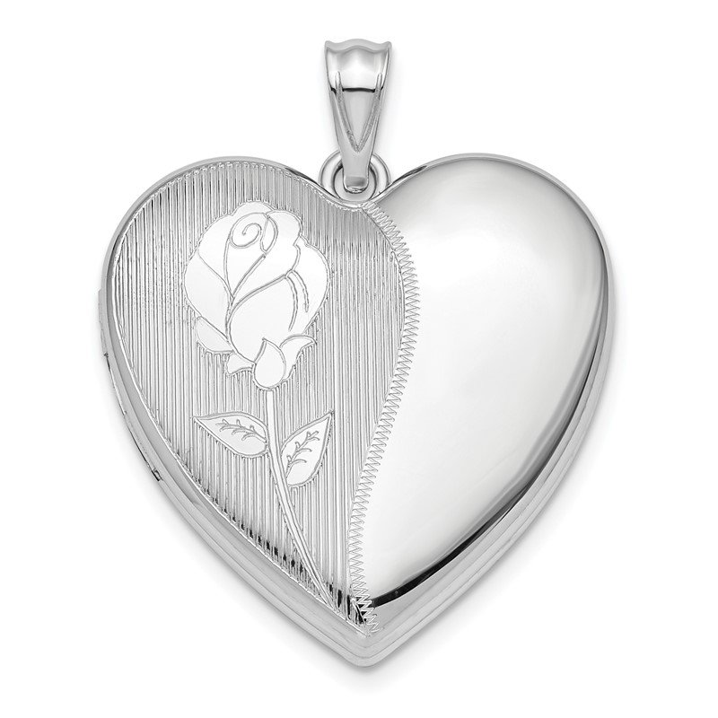 Quality Gold Sterling Silver Rhodium-plated Flower Ash Holder Heart Locket