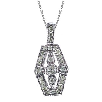 14K White Gold Antique Diamond Pendant