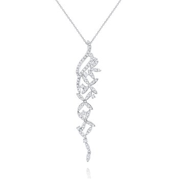 Diamond Abstract Floral Pendant Necklace Set in 14 Kt. White Gold