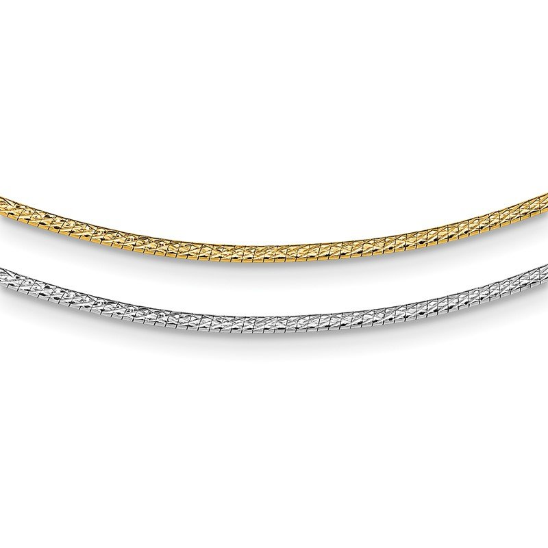 J.F. Kruse Signature Collection 14k Two-Tone 2mm w/ 2in ext. Reversible Omega Necklace