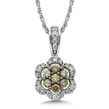 Pave set Cognac Cluster and White Diamond Floral Motif Pendant, 10k White Gold  (1/3 ct. tw.)