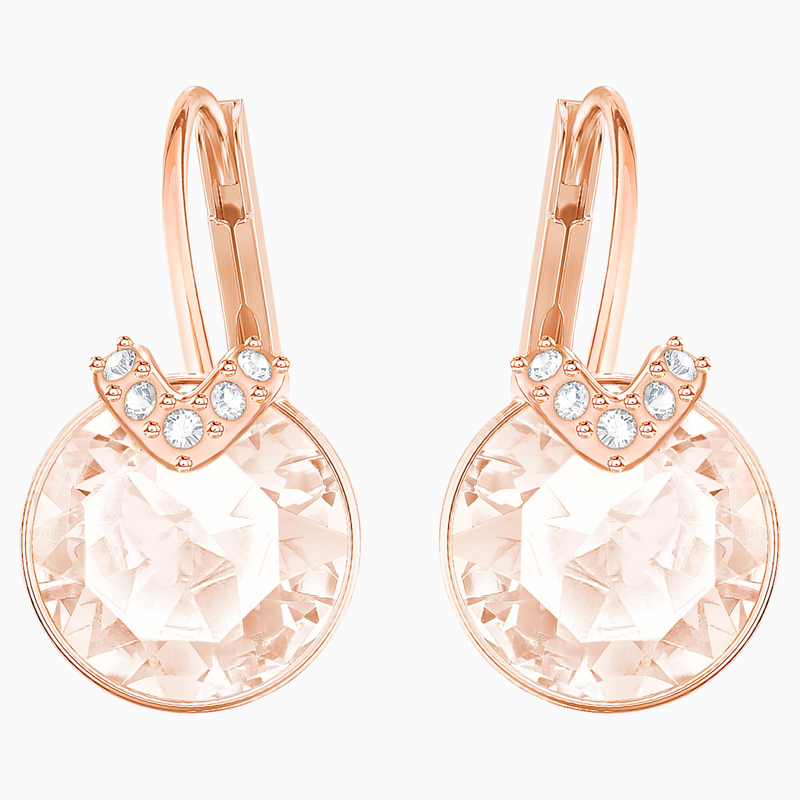 Swarovski Bella V Pierced Earrings, Pink, Rose-gold tone plated