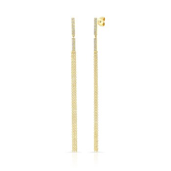 Yellow Gold Dangling Tassel Bar Earrings