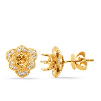 Yellow Gold Diamond Earring for 1cttw
