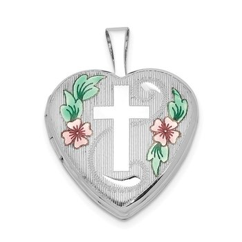 Sterling Silver RH-plated 16mm D/C & Enameled Cross & Flowers Heart Locket