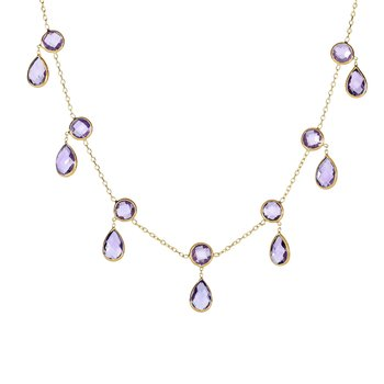 14K Gold Amethyst Multi Dangles Necklace