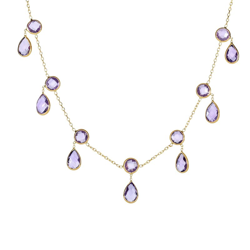 Royal Chain 14K Gold Amethyst Multi Dangles Necklace